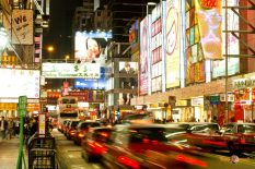 Nočné ulice Hong Kongu