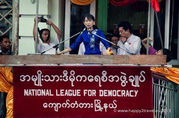 Držiteľka Nobelovej ceny za mier Su-Ťij počas vystúpenia