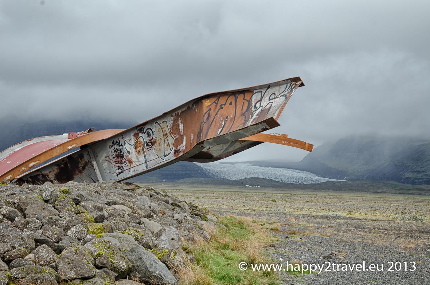 Pozostatky povodne z ľadovca - ruiny obrovského cestného mostu