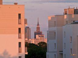 Jarné ráno a výhľad na Palác kultúry