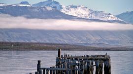 Nedeľný ospalý prístav v čilskom meste Puerto Natales