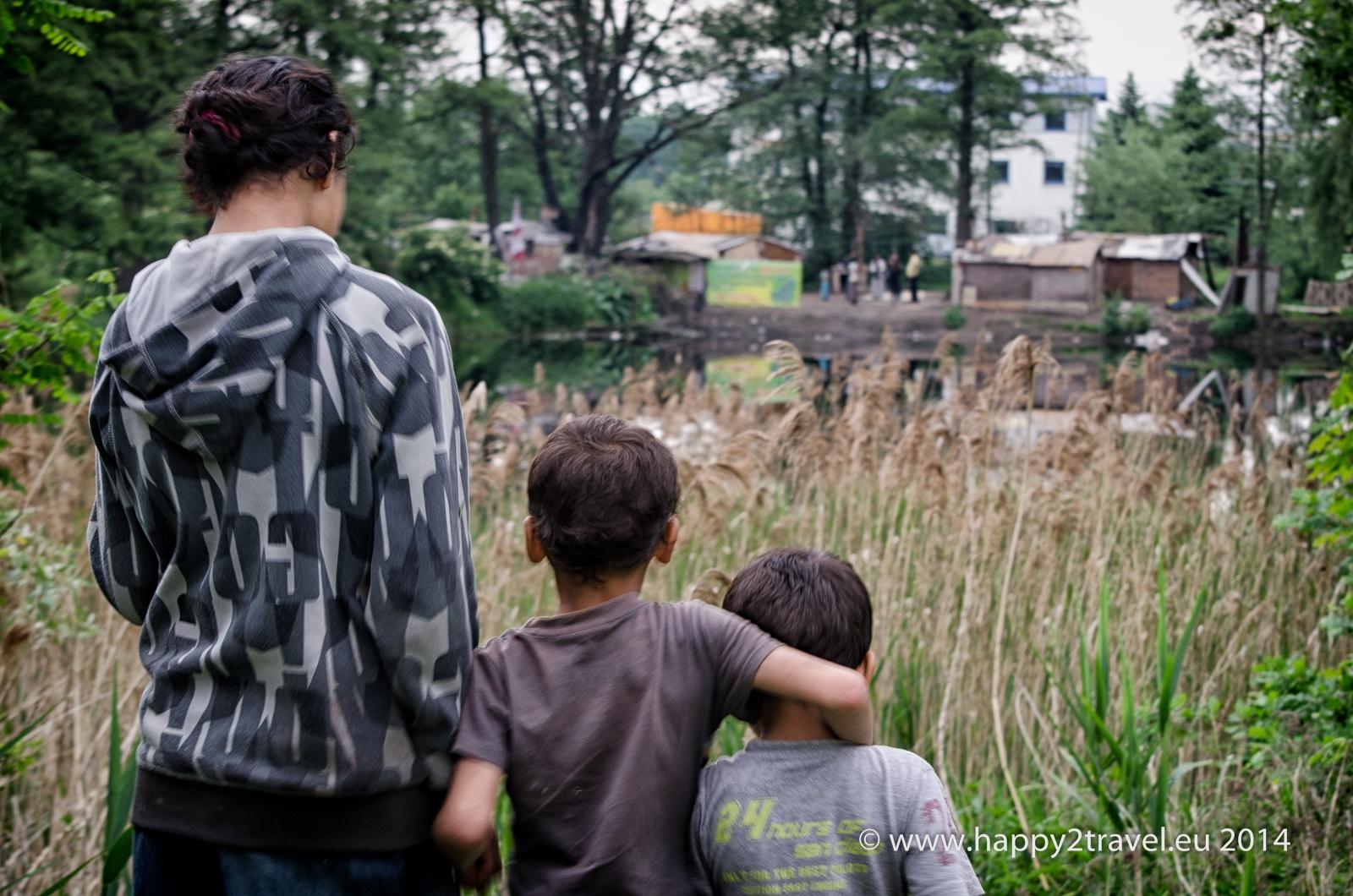 Pohľad na kočovisko rumunských Rómov